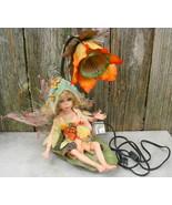 Flower Fairy Porcelain Sitting on Leaf Gooseneck Lamp Fantasy - $43.00