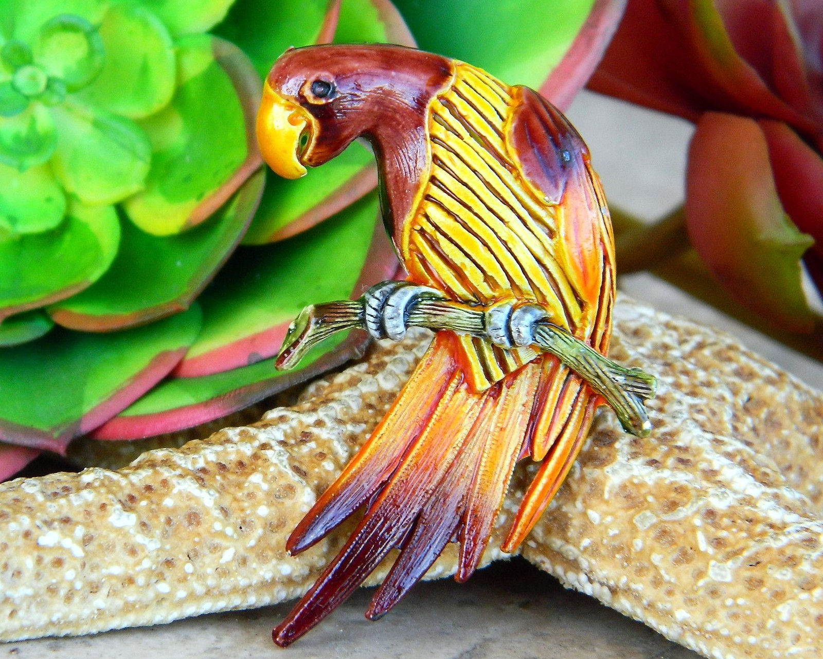 Vintage parrot bird macaw on branch brooch pin figural enamel metal