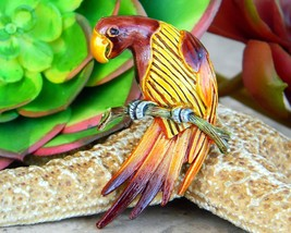Vintage Parrot Bird Macaw On Branch Brooch Pin Figural Enamel Metal - $24.95