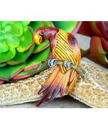 Vintage parrot bird macaw on branch brooch pin figural enamel metal thumbtall
