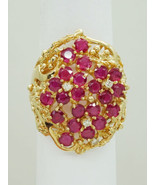 3.36ct tw Heated Ruby & Earth Mined Diamond Cluster Ring 14k Size 7.5 - $950.00