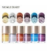 Nail Art 6 Colors Varnish Varnish Stamping Polish Water Based Pearl Seri... - $4.29