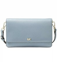 NWT MICHAEL KORS PEBBLE LEATHER PHONE CROSSBODY WALLET POWDER BLUE/GOLD - $98.99