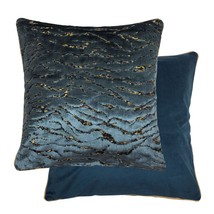 """2 X JAGGED PATTERNED CHENILLE VELVET BLUE GOLD PIPED 18"""" - 45CM CUSHION ... - £21.78 GBP"""