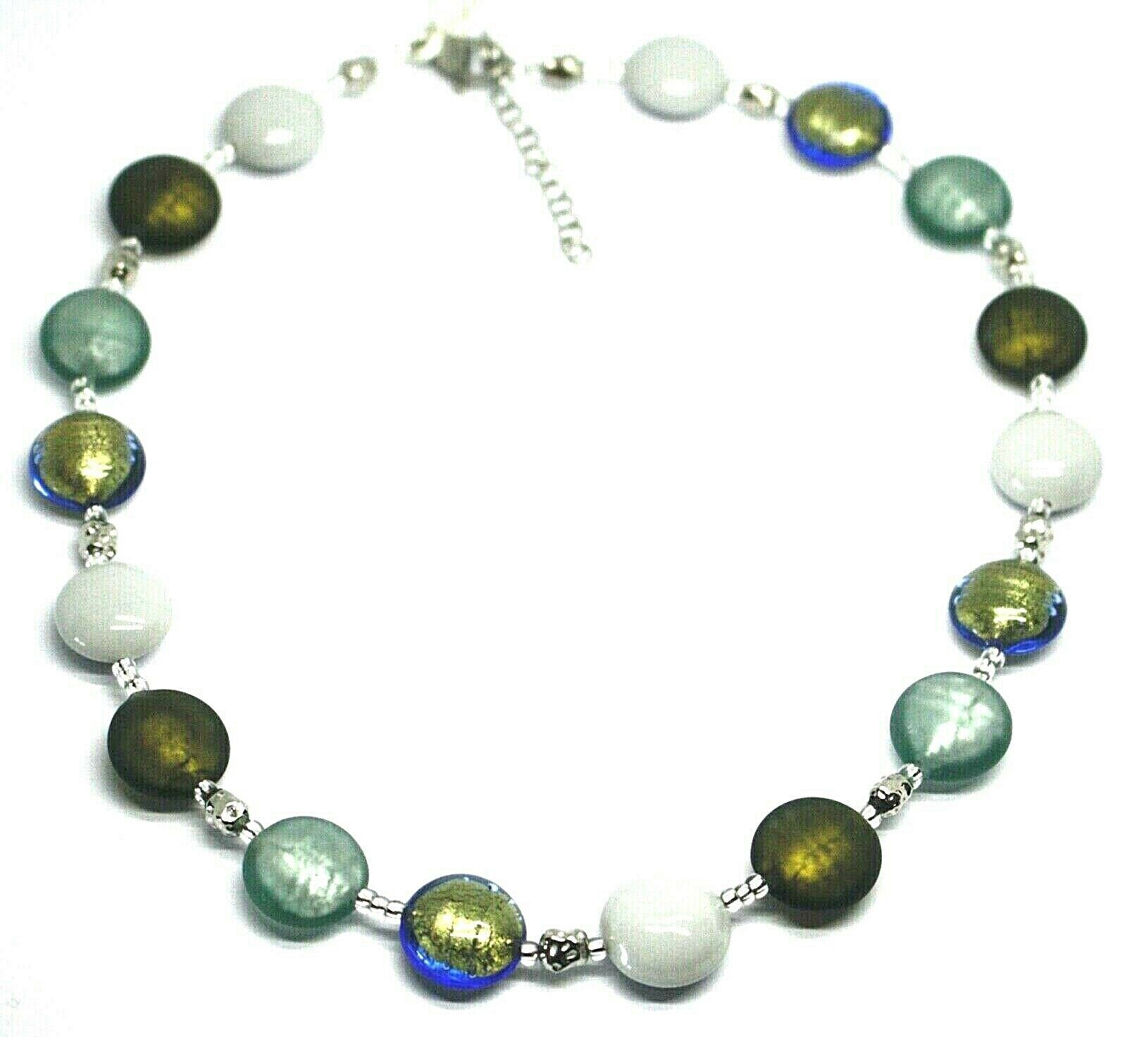"NECKLACE WHITE GREEN BLUE ROUNDED MURANO GLASS DISC, 45cm 18"", MADE IN ITALY"