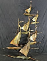 Sailboats Sculpture MCM Brutalist Copper Gold Metal Wall Art Torch Cut E... - $54.42