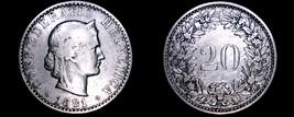 1881 Swiss 20 Rappen World Coin - Switzerland - $9.99