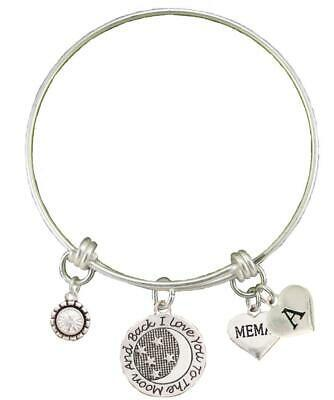Primary image for Custom Memaw Love You To The Moon Silver Wire Bracelet Choose Initial Charm