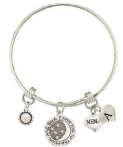 Custom Memaw Love You To The Moon Silver Wire Bracelet Choose Initial Charm - $18.04