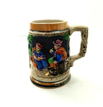 Decorative Ceramic Beer Mug Man Woman Sitting Under Trees & Castle Hand ... - $20.53