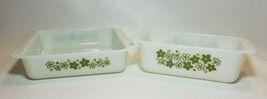 Vintage PYREX Crazy Daisy Spring Blossom 913  Loaf & 922 Brownie Pan Dish  - $27.67