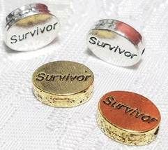 SURVIVOR WORD FINE PEWTER OVAL DISC BEAD - 11mm x 9mm x 3mm