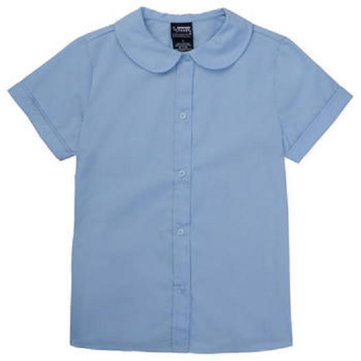 Peter Pan Collar Blouse Girls School Uniform S/S Top Blue 6 French Toast New
