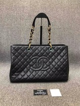 AUTHENTIC CHANEL BLACK QUILTED CAVIAR XL GST GRAND SHOPPING TOTE BAG GHW  image 1