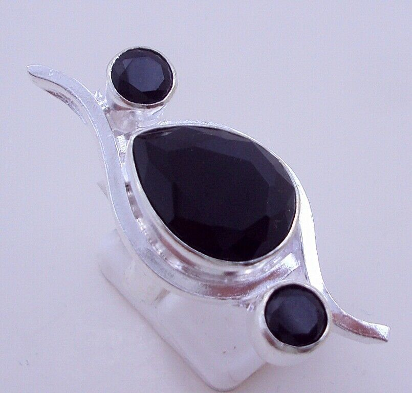 9 Gr. Black Onyx Silver Overlay Handmade Ring Jewellery Size-6 -P-146-7