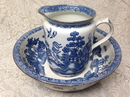 Antique England Cetem Ware, Blue Willow XL Set Wash Bowl 16.5in D-Pitche... - $427.45