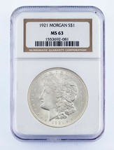 1921 $1 Silver Morgan Dollar Graded by NGC as MS-63! Gorgeous Morgan! - $69.29