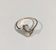 10k Yellow Gold Women's Ring With Diamonds & Marquise Shaped Opals - $186.07