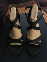 Timberland Earthkeepers Stratham Heights Heels Sandals  Black Leather 9.5 Women - $67.32