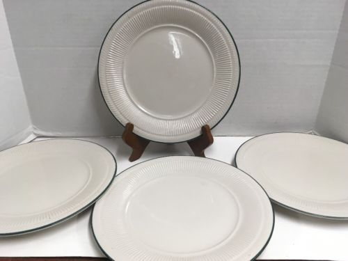 4 Gibson Everyday China Dinner Plates 10 1/4in off White with Green Rim - $12.20 & Gibson Everyday China: 9 listings