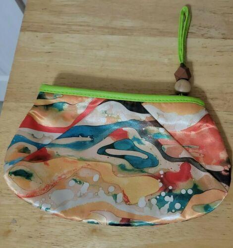 MARY KAY Makeup Bag ART OF NATURE Watercolor Orange Green Blue Wood Beads  - $1.99