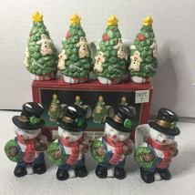 Set Of 8 Porcelain Snowman Christmas Tree Napkin Rings Holiday Dinner Party - $12.99