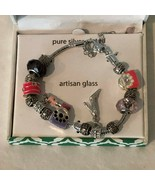 Silver Plated Bracelet Artisan Glass Crystal Fashion Statement New Boxed... - $9.99