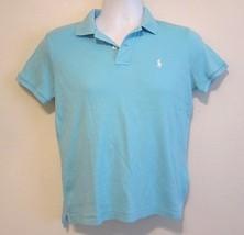 Ralph Lauren Sport Light Blue White Logo Short Sleeve Polo Short M - $18.95