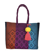 Tricolor Bright beach tote plastic shopping bag handwoven  bag with pom ... - $85.00