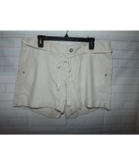 Sonoma Misses Shorts Size 14 Tie Belt Mid Rise Stretch Linen Rayon Natur... - $15.45