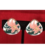 Vintage Pink Orchids Gold Tone Clip On Earrings Collectible - $7.70