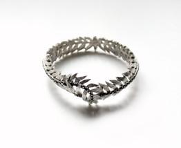 1960s Boucher rhinestones silvertone clamper bracelet faux hematite glass - $95.00