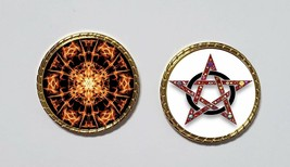 Cool Fiery Pentacle Coin Wicca Pagan Witch coin with case. - $7.59