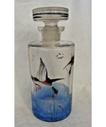 Vintage Glass Decanter round w/ flying Geese blue base Brandy Whisky w/ ... - $28.45