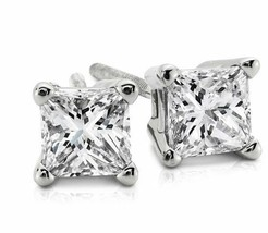 0.80CT Princess Cut Genuine F/I2 Diamonds 14K Solid White Gold Stud Earr... - $668.80