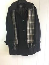 ST. JOHN'S BAY Men's Woolen Jacket with Hoodie & Scarf Black 3XL #J409 - $79.99