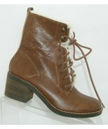 Lucky Brand Cambreen brown leather faux fur lace up bootie block heels 5... - $60.41