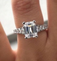 Certified 2.25Ct Emerald Cut White Diamond Engagement Ring in 14K White ... - £214.05 GBP