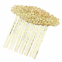 3 Pcs Gold Metal Side Comb Carved Flower Vines Hairpin Topknot Hair Clip DIY Bri