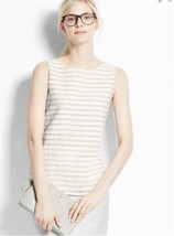 Ann Taylor size XL Top Textured Stripe Blouse Ivory Colored 16 - $32.95