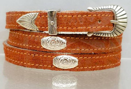 SOUTHWEST HATBAND Genuine Leather with Silver Oval CONCHOS and Buckle *3... - $14.99