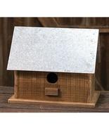Rustic Wood Metal Roof Birdhouse Garden Gift Outdoor Decor  - $52.99