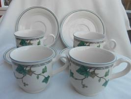 NORITAKE KELTCRAFT COFFEE CUP SAUCERS 4 SETS 9180 IVY LANE GREEN IRELAND - $16.82