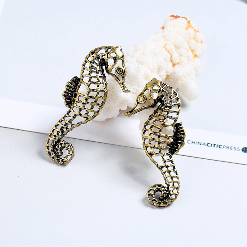Antique Gold Color Alloy Seahorse Cute Animal 925 Silver Needle Statement Stud