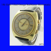 Vintage and Retro Mens 14k Gold Omega SeaMaster Memomatic Alarm Wrist Wa... - $1,495.00