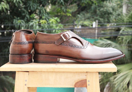 Handmade Men's Brown Monk Strap Leather Shoes image 2