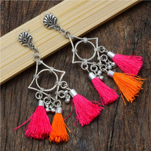 Geometric Orange Pink Tasseled Earrings | Oxidized Silver Plated Fringe Earring  - $10.00
