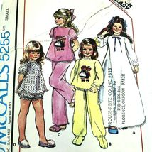 Vintage Sewing Pattern Girls Pajamas Nightgowns 1970s Chest 23 to 25 PA301 - $10.77