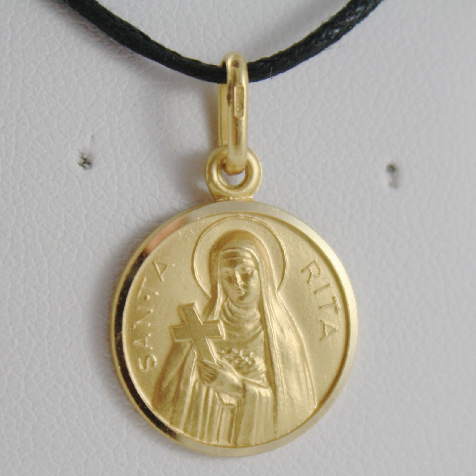 SOLID 18K YELLOW GOLD HOLY ST SAINT SANTA RITA ROUND MEDAL MADE IN ITALY