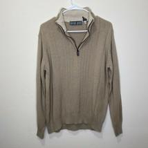 Men's Oscar De La Renta 1/4 Zip Pullover Beige Tan Sweater Sz Medium M - $21.84